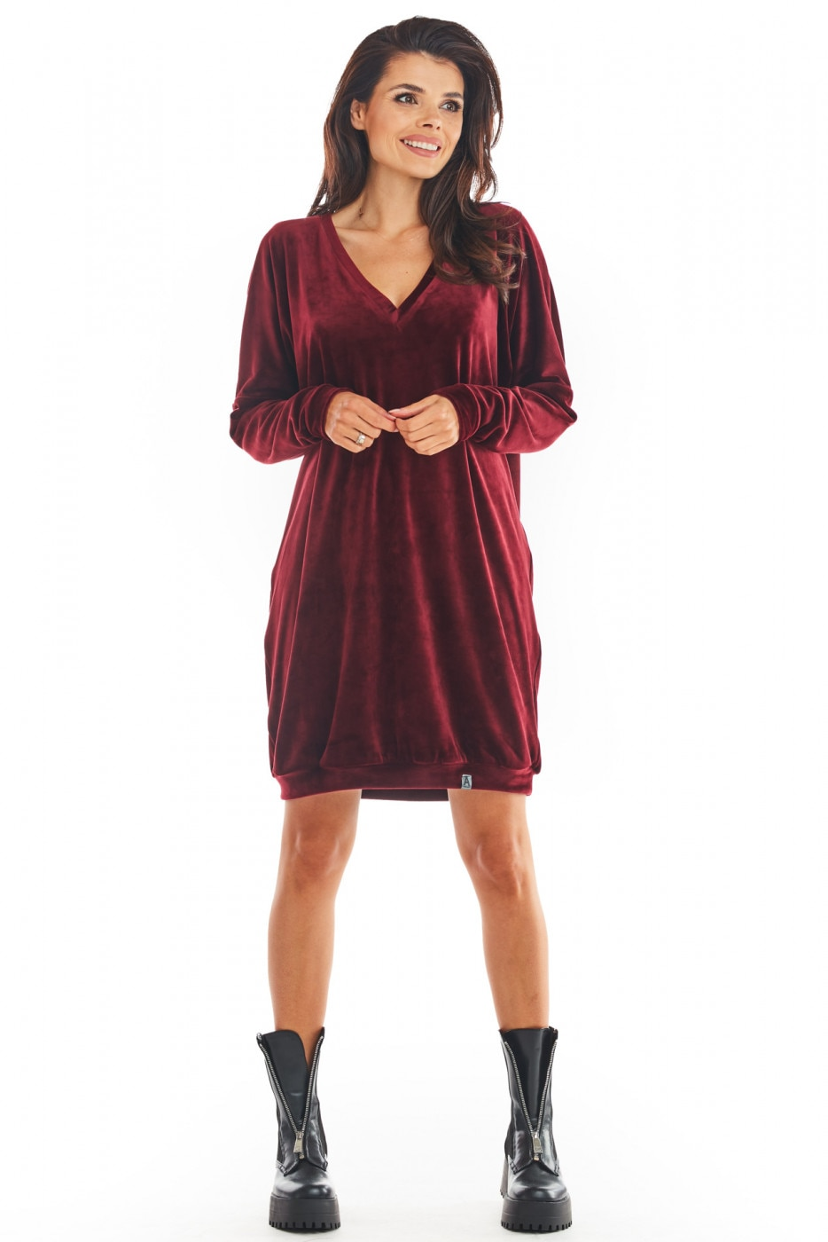 Awama Womans Dress A378 dámské Claret One size