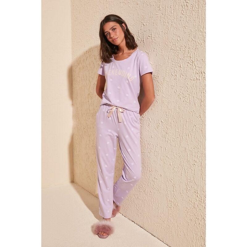 Dámske pyžamo Trendyol Polka Dot dámské Lilac L