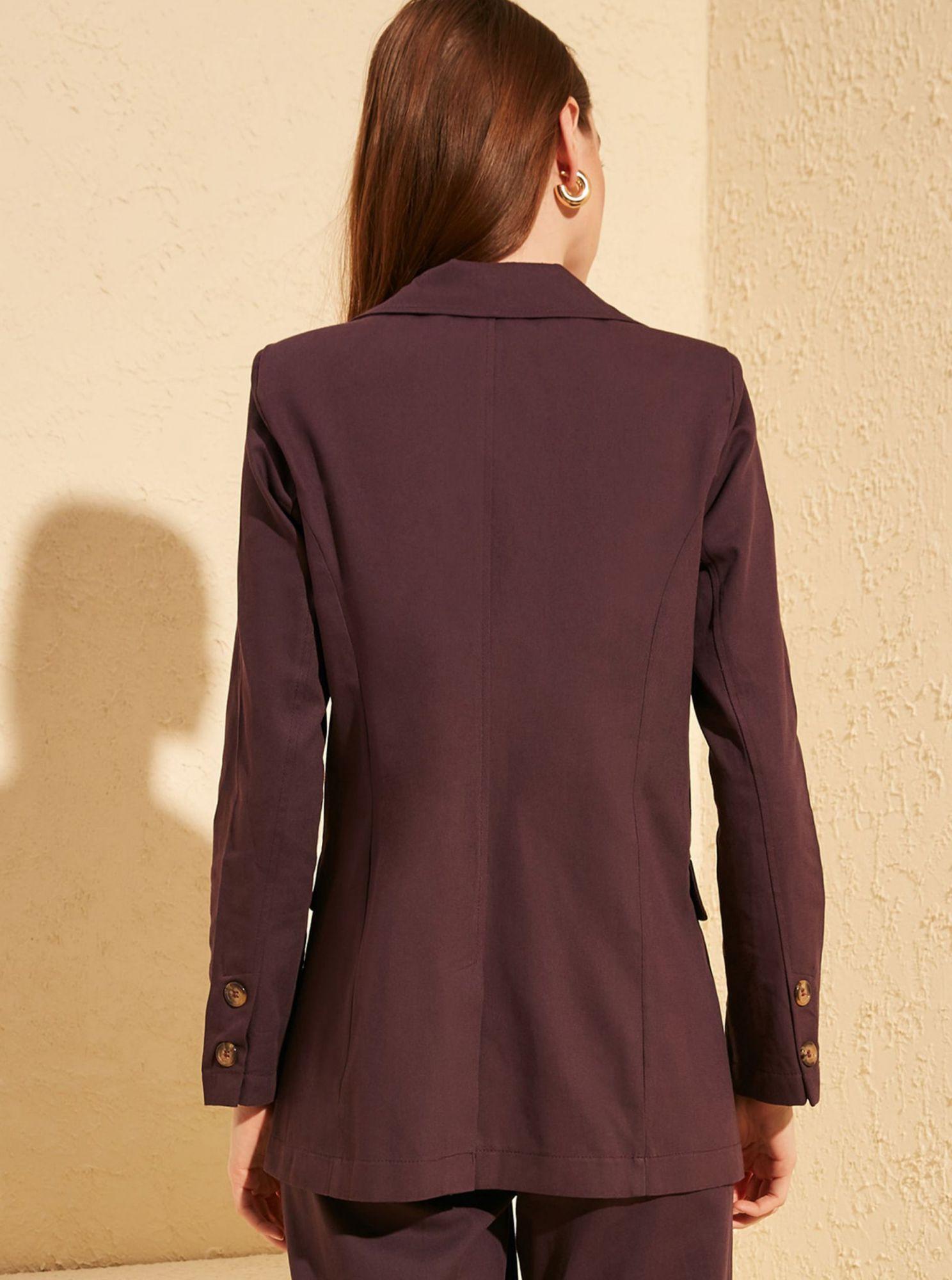 Hnedé sako Trendyol - S dámské fialová S