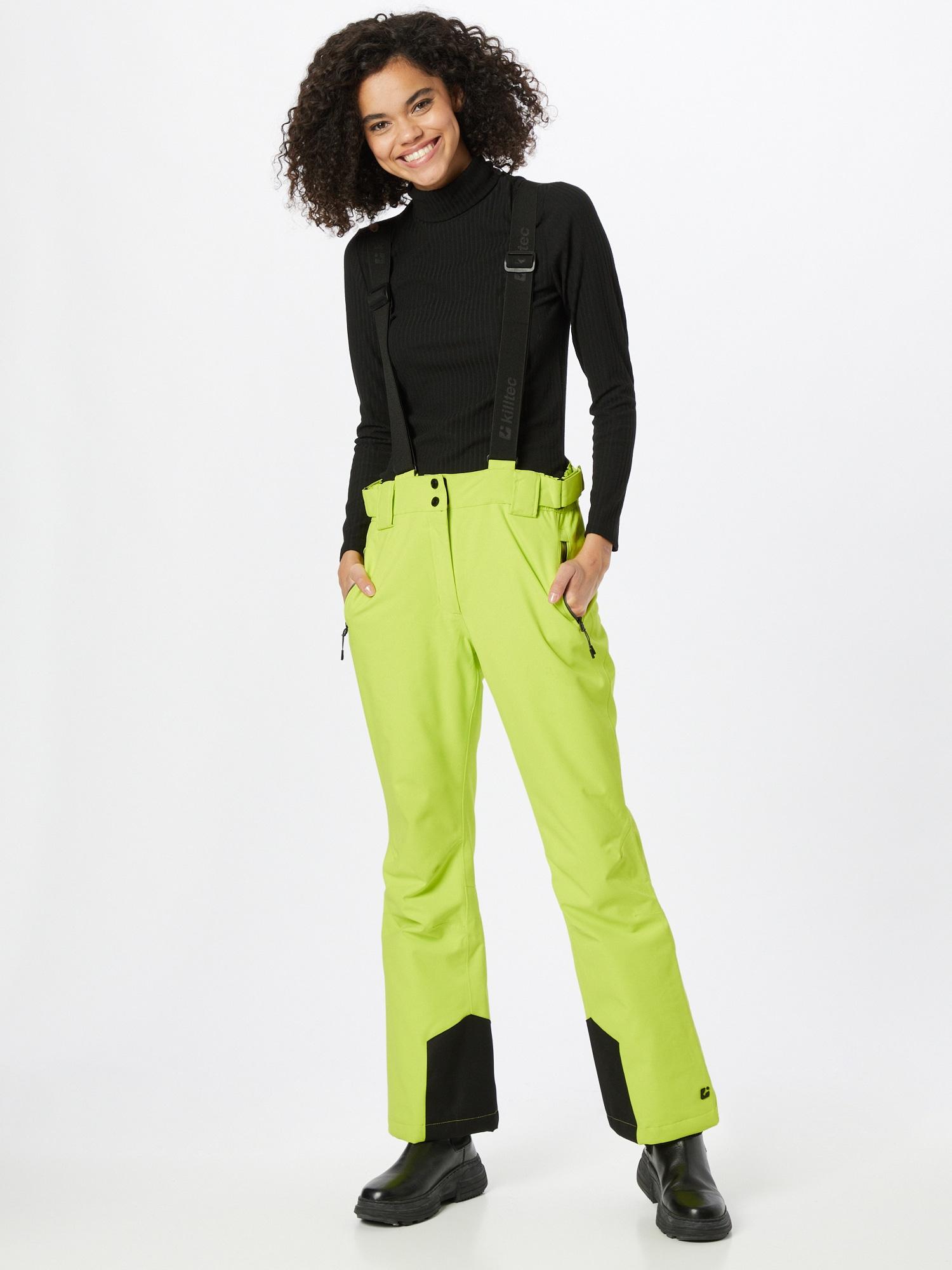 KILLTEC Outdoorové nohavice  svetlozelená / čierna dámské M