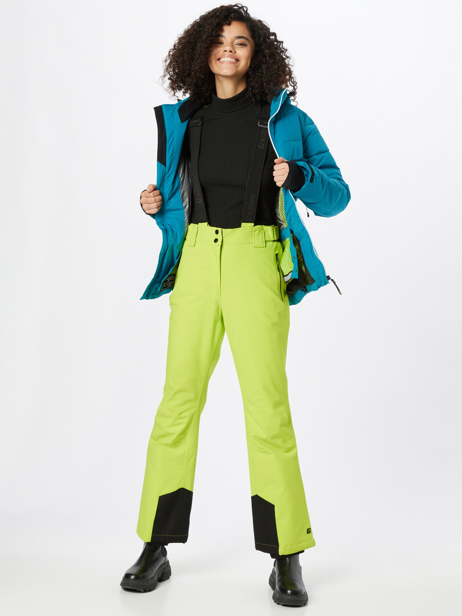 KILLTEC Outdoorové nohavice  svetlozelená / čierna dámské S