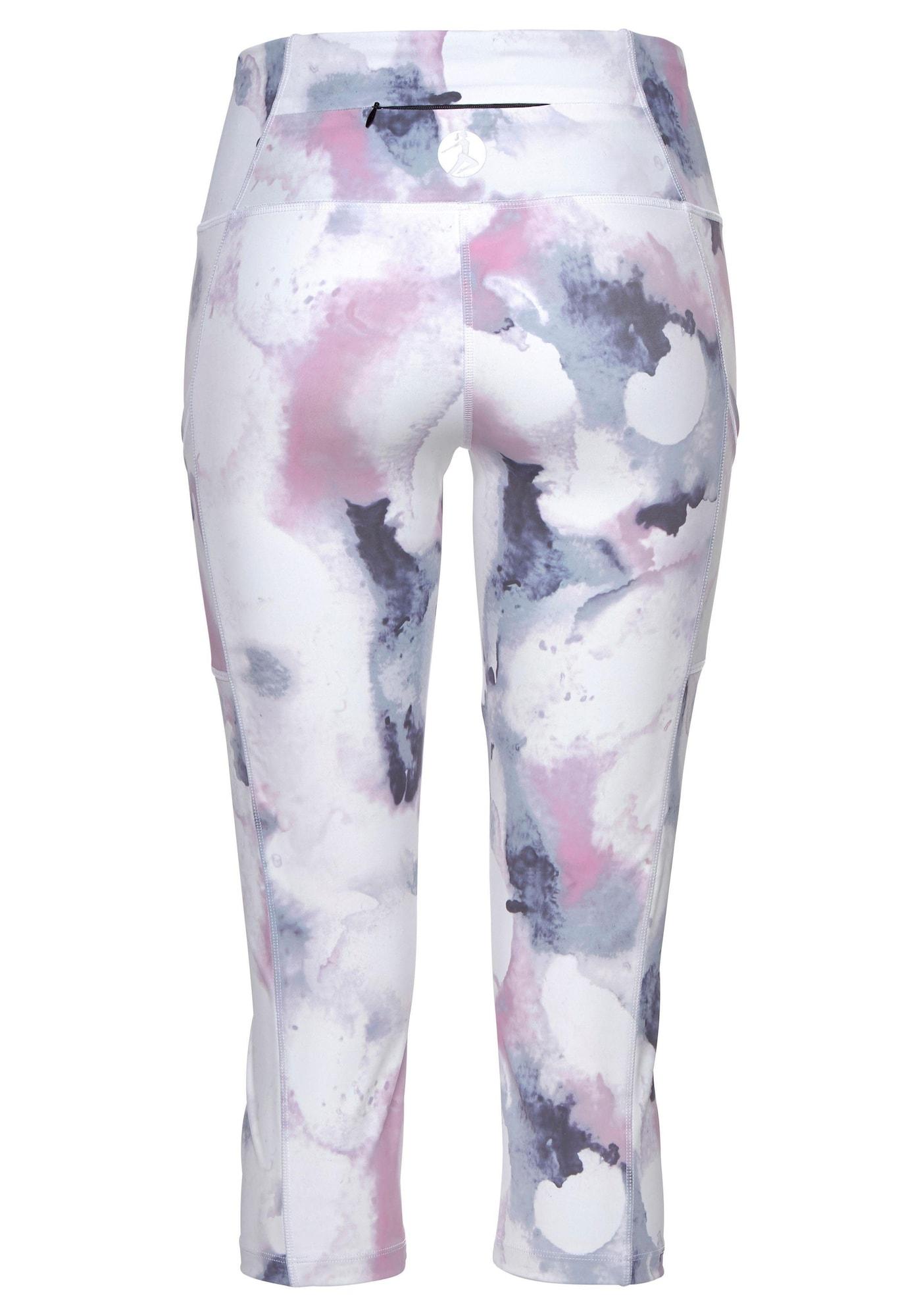 LASCANA ACTIVE Športové nohavice LA Performance Basic Cap  biela / námornícka modrá / ružová dámské M