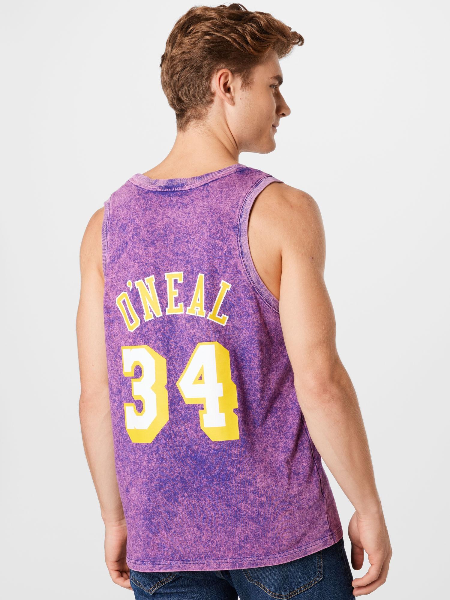 Mitchell & Ness Tričko  tmavofialová / fialová / biela / žltá pánské XXL