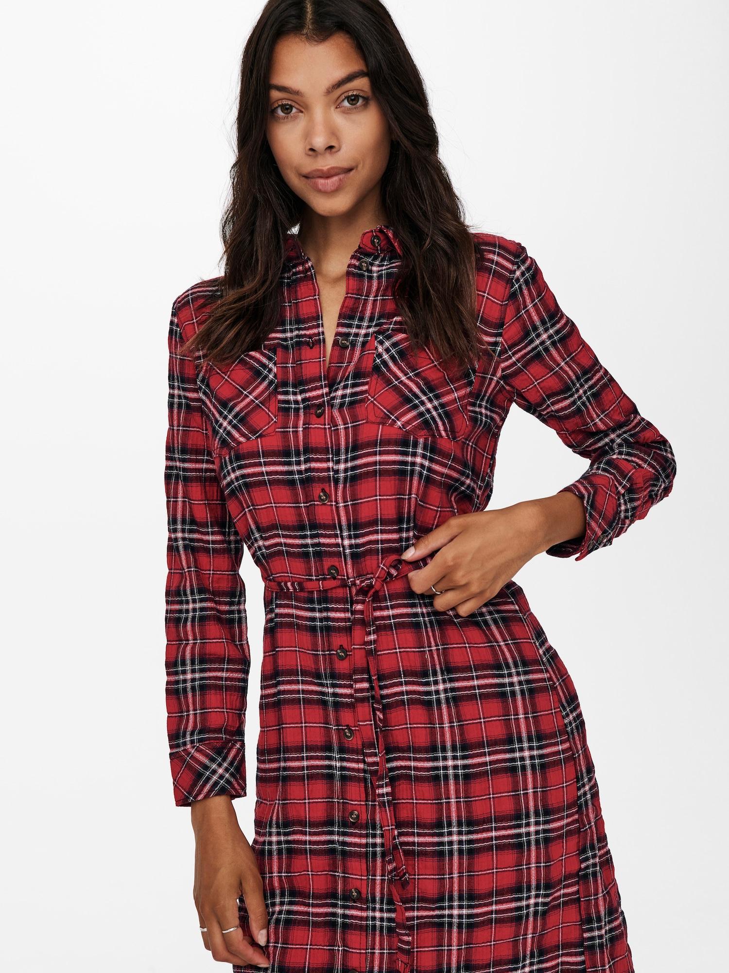 ONLY Košeľové šaty PINA  červená / čierna / biela dámské 34