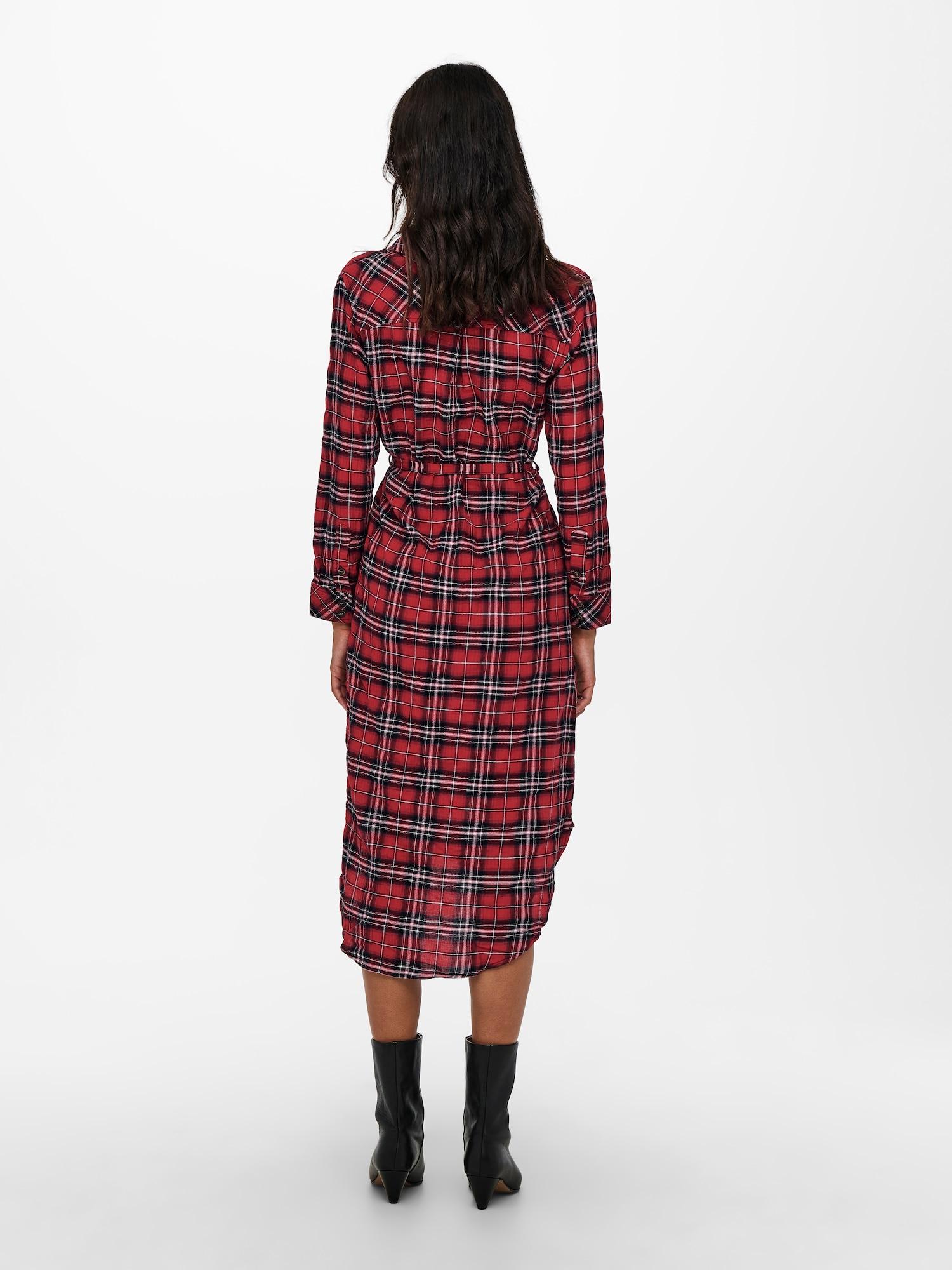 ONLY Košeľové šaty PINA  červená / čierna / biela dámské 38
