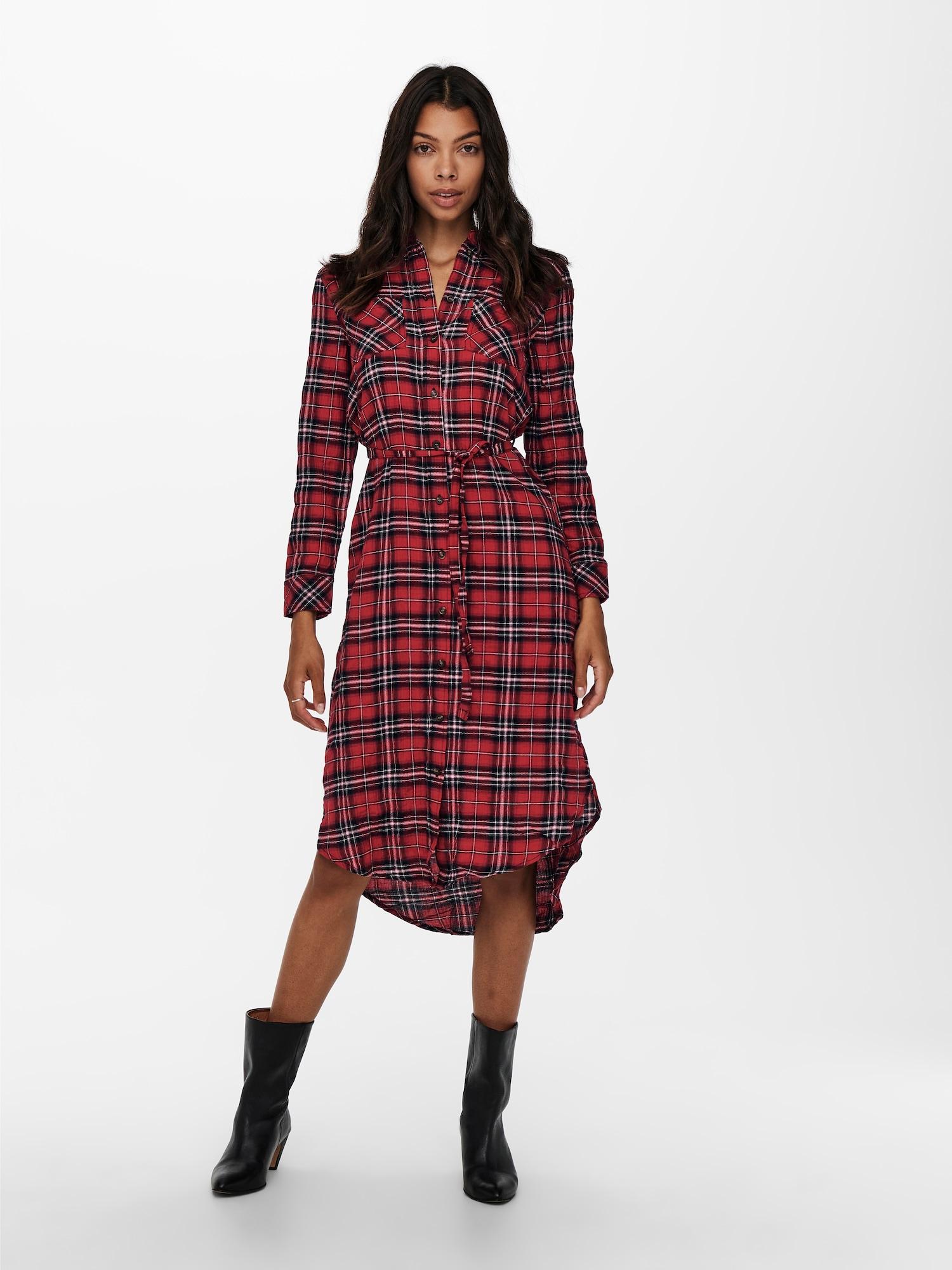 ONLY Košeľové šaty PINA  červená / čierna / biela dámské 40