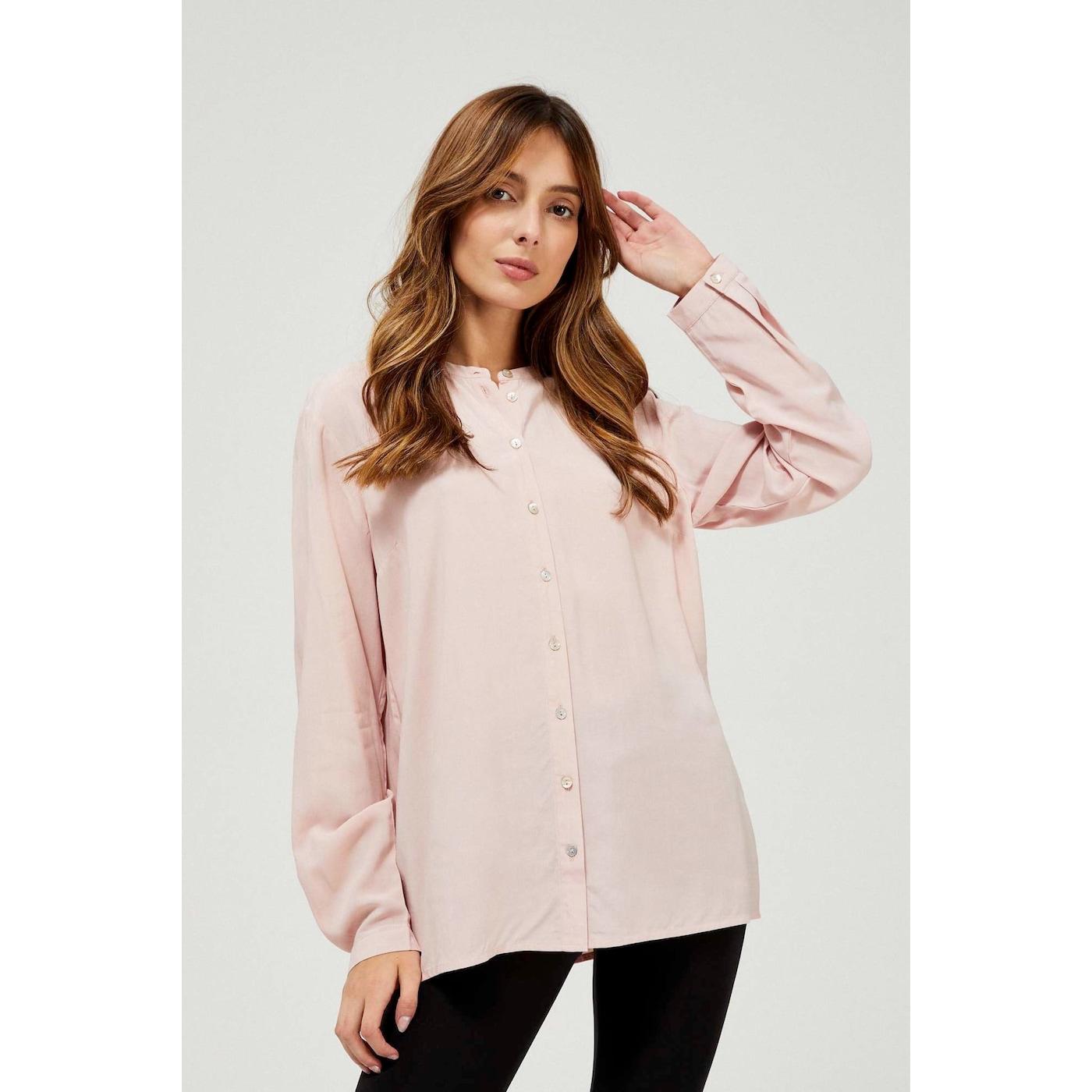 Plain collarless shirt - pink dámské Other M