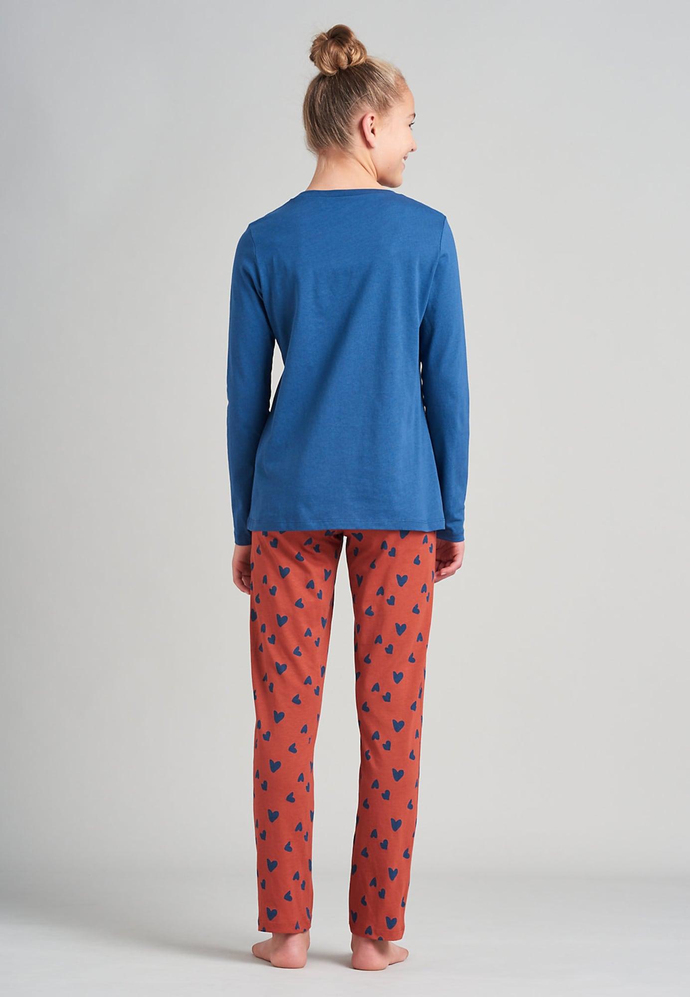 SCHIESSER Pyžamo  námornícka modrá / svetloružová / tmavooranžová dámské 140