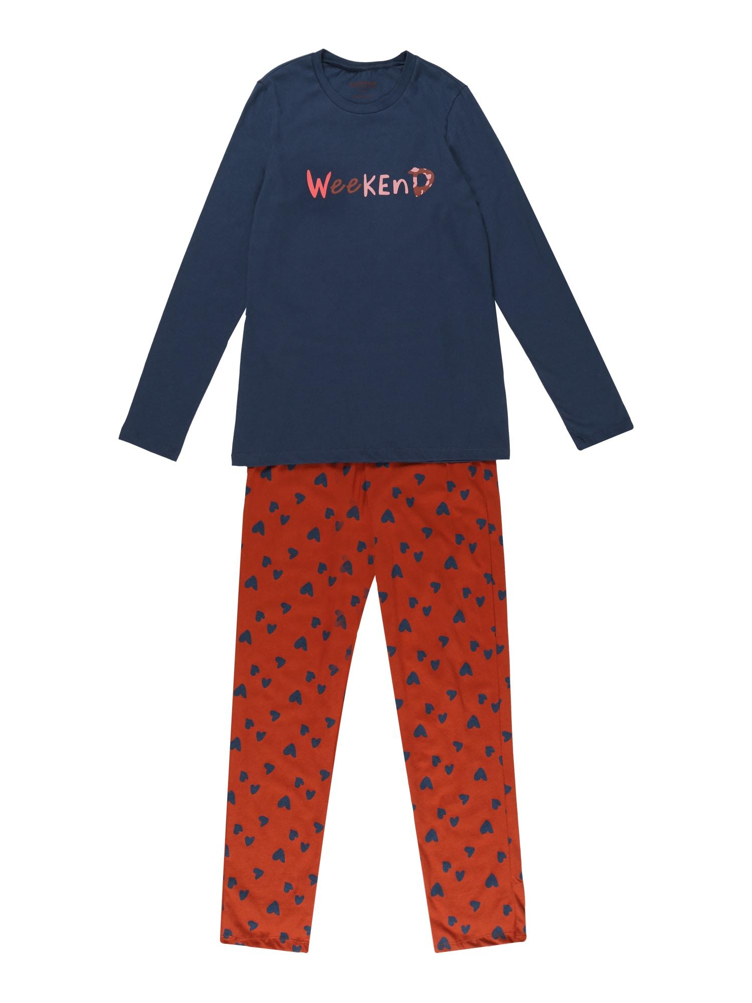 SCHIESSER Pyžamo  námornícka modrá / svetloružová / tmavooranžová dámské 164