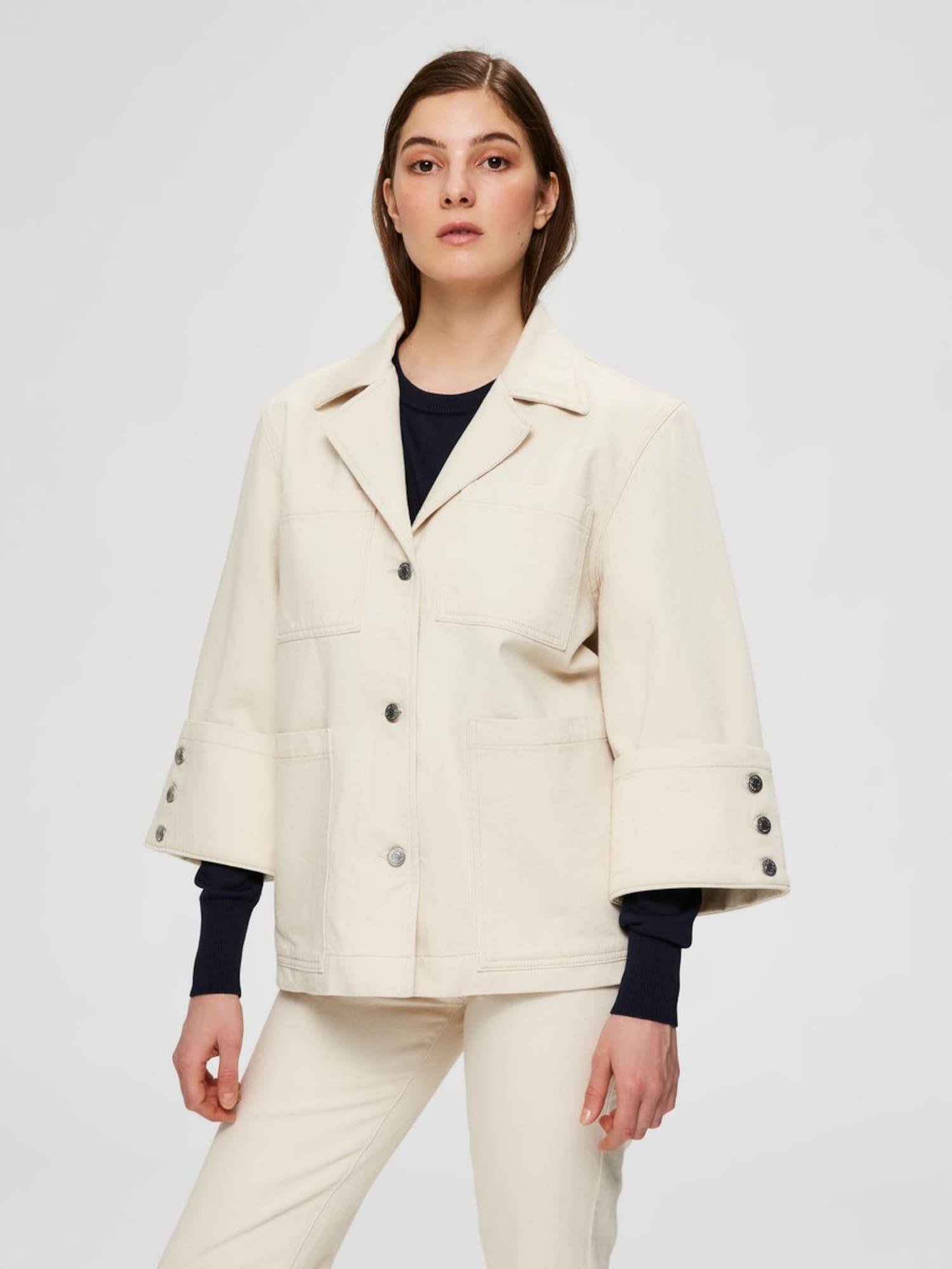SELECTED FEMME Prechodná bunda HELENA  biely denim dámské XL