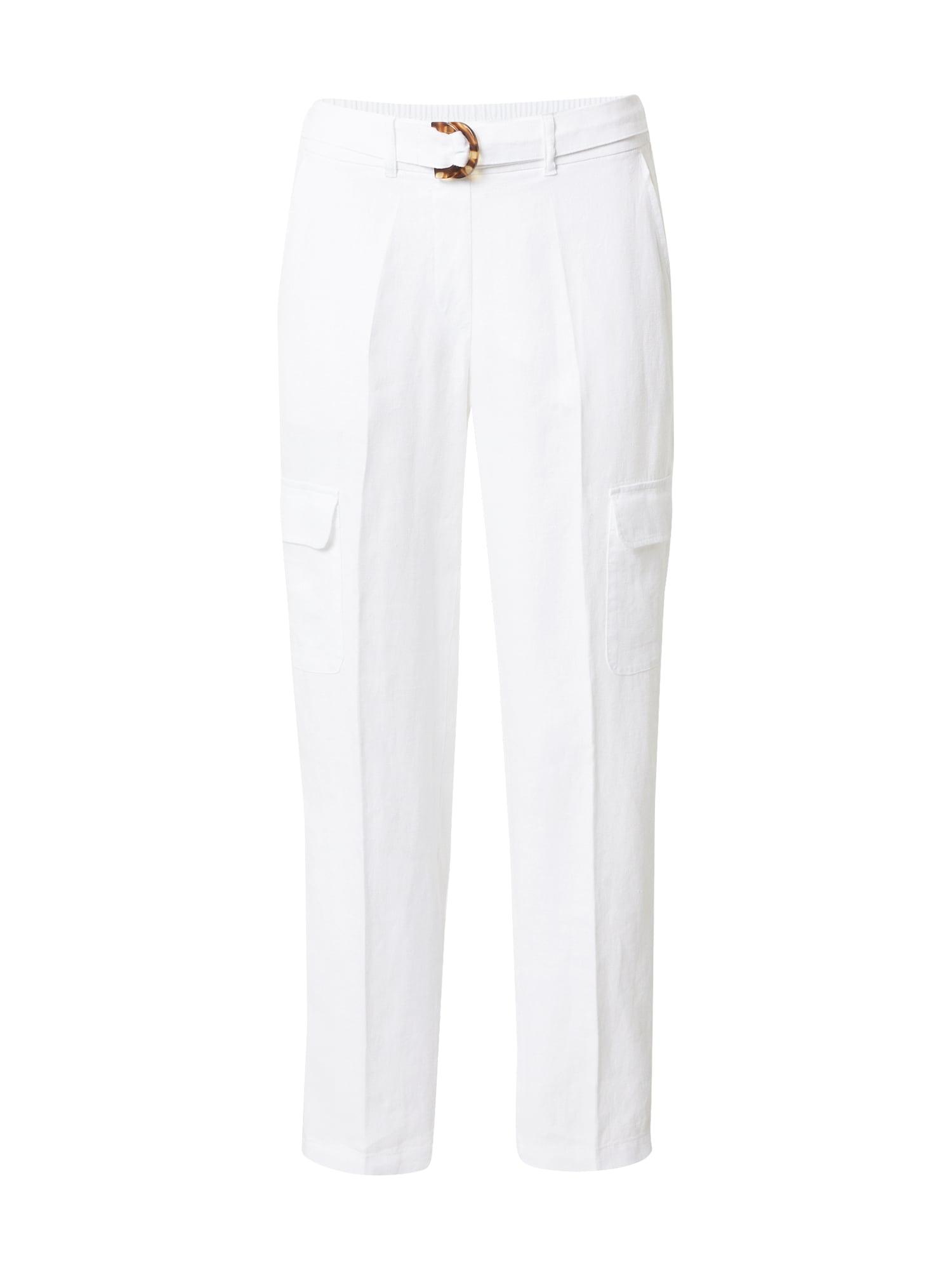 TAIFUN Plisované nohavice  šedobiela dámské 44