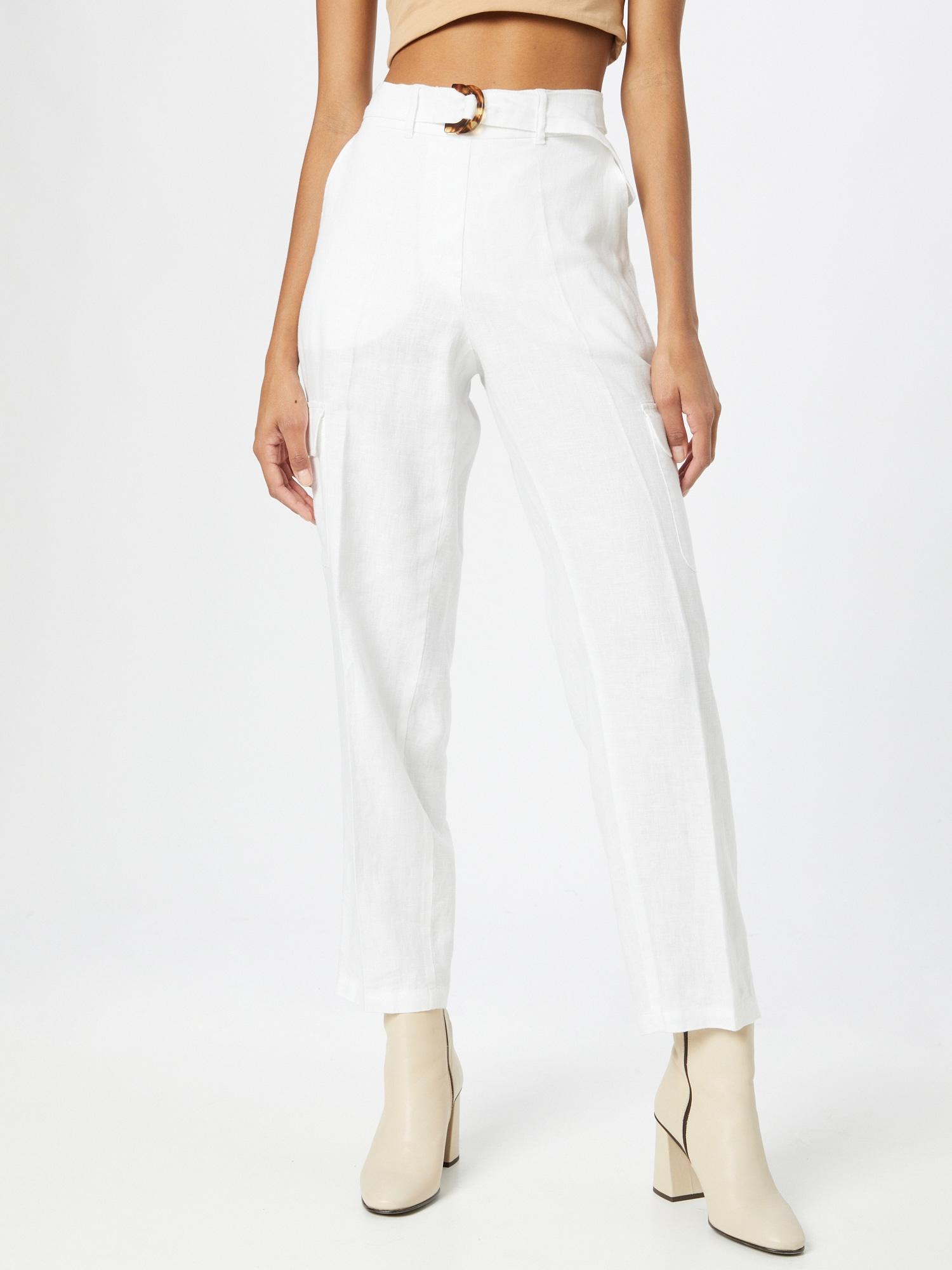 TAIFUN Plisované nohavice  šedobiela dámské 46