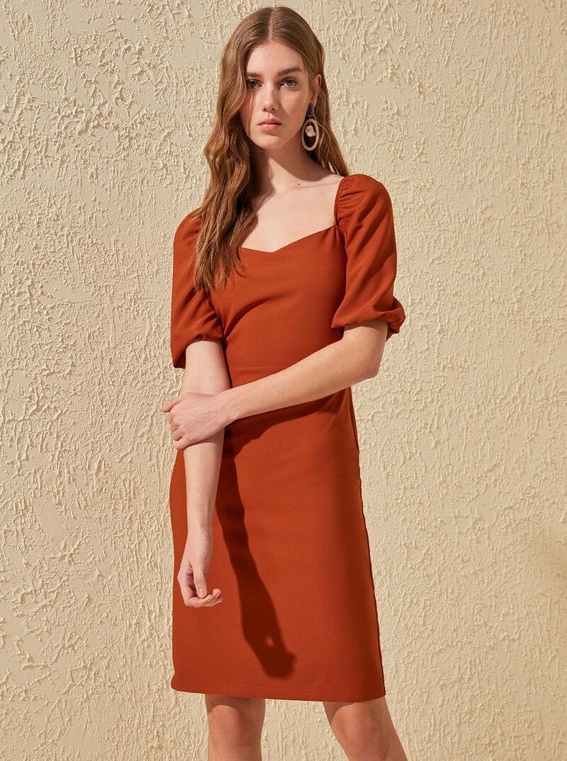 Tehlové šaty Trendyol dámské tehlová L