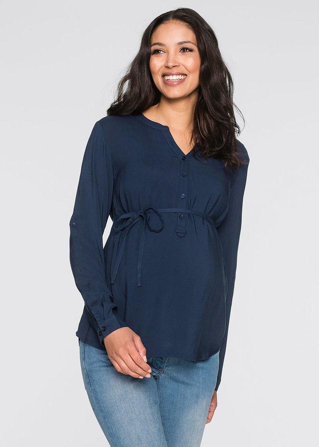 Tehotenská blúzka/na dojčenie dámské modrá 46,48,50,52,40,44,36,38,42