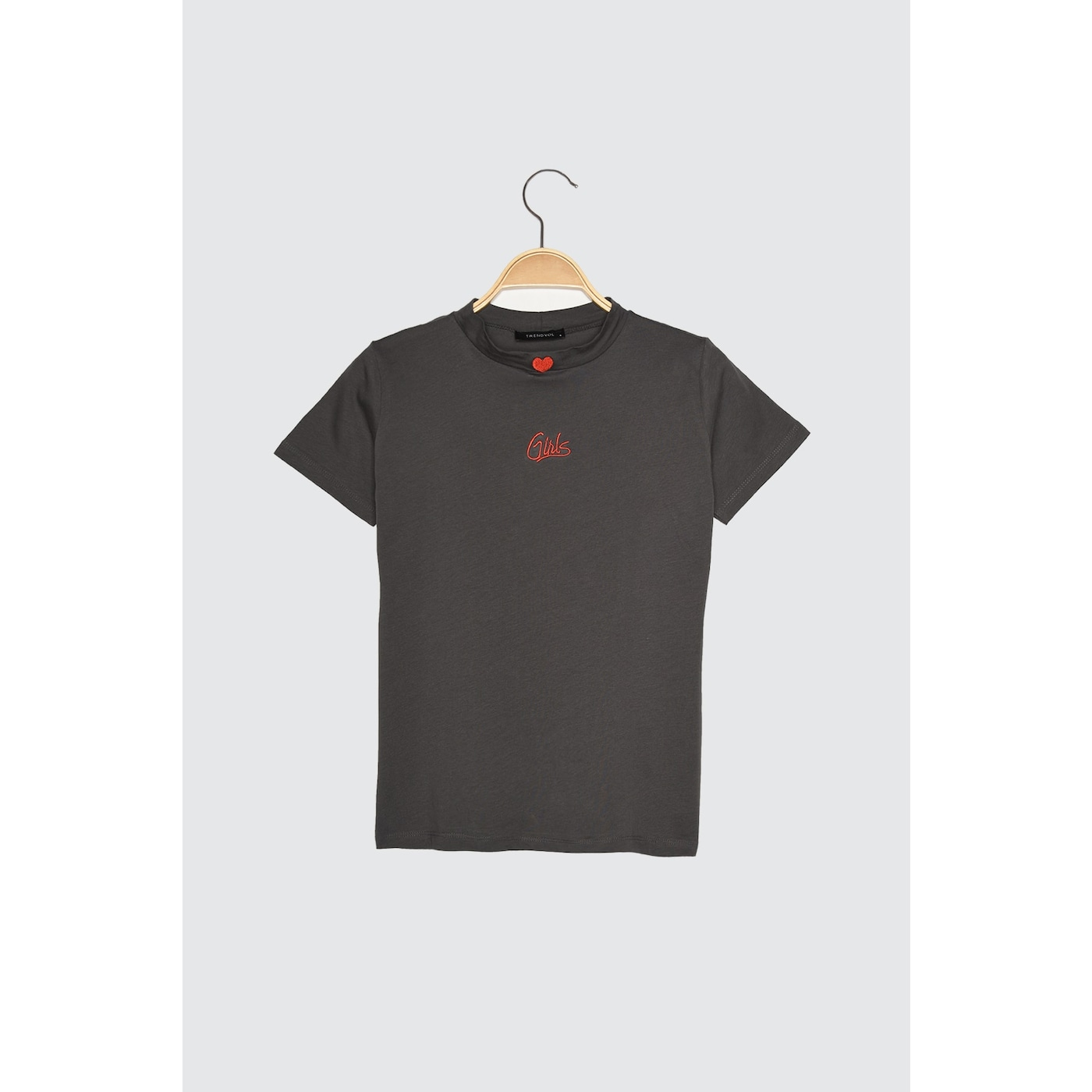 Trendyol Anthracite Embroidered Upright Collar Basic Knitted T-Shirt dámské XS