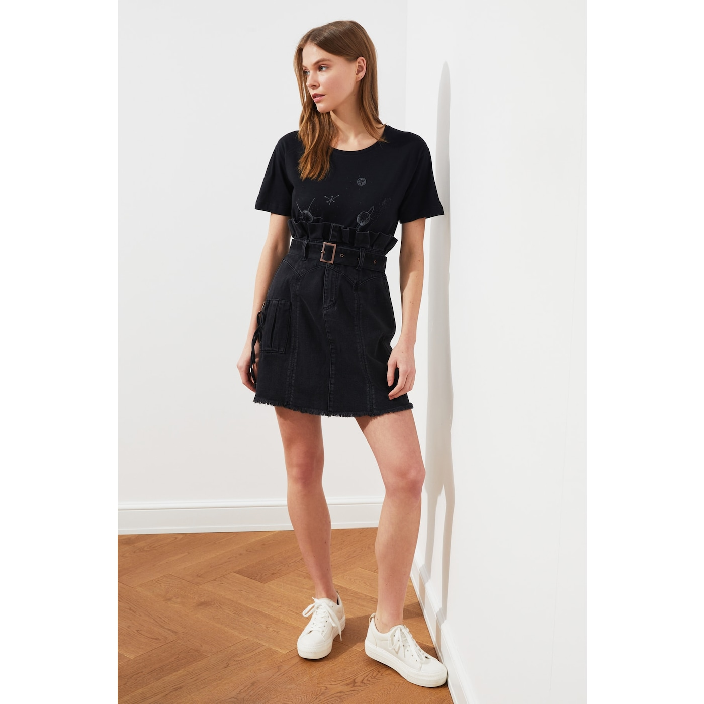 Trendyol Anthracite Waist Ruffled Belt Mini Denim Skirt dámské 42