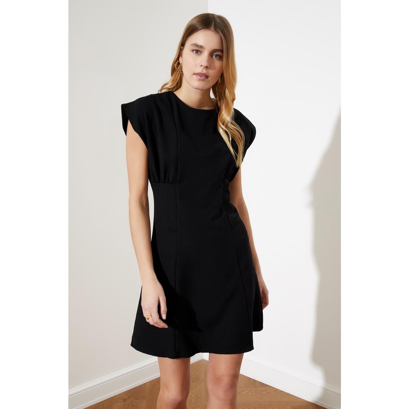 Trendyol Black Assk Detail Dress dámské 38