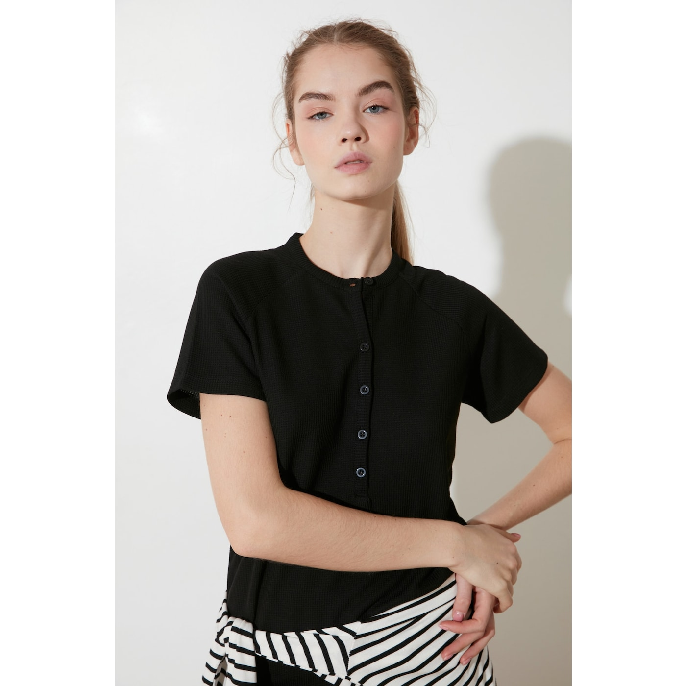 Trendyol Black Button Knitted Blouse dámské L
