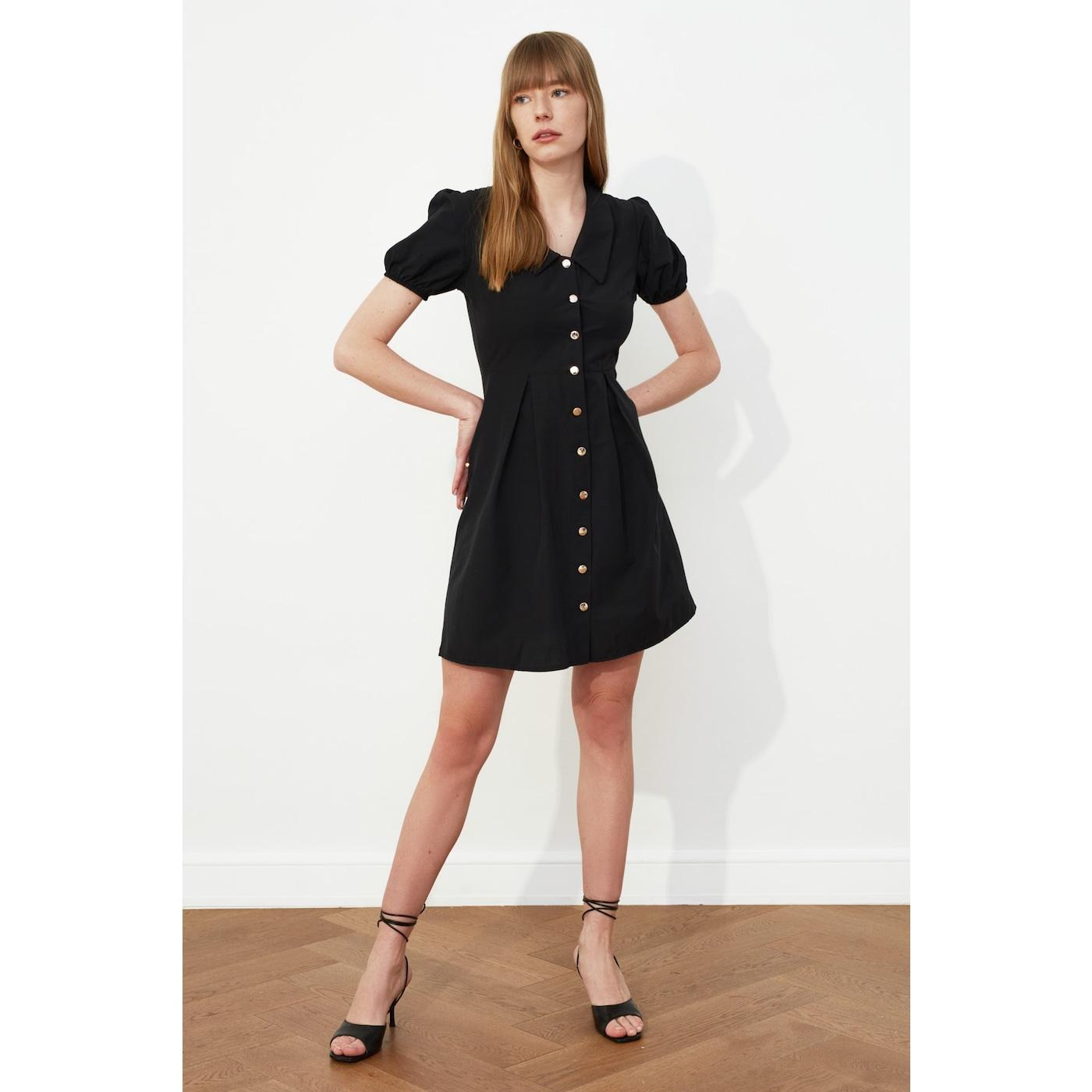 Trendyol Black Collar Detailed Buttoned Dress dámské 34