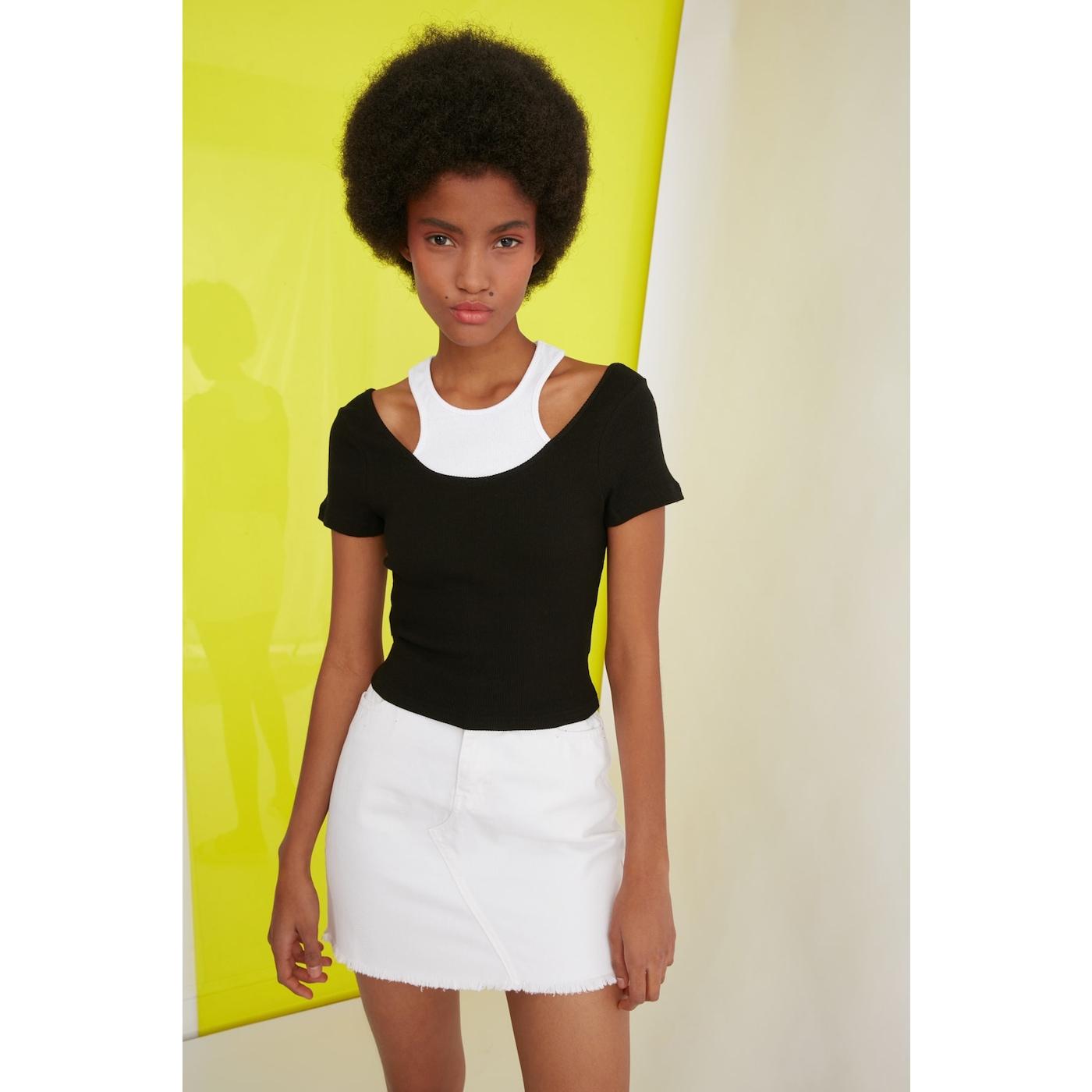 Trendyol Black Cut Out Detailed Knitted Blouse dámské S