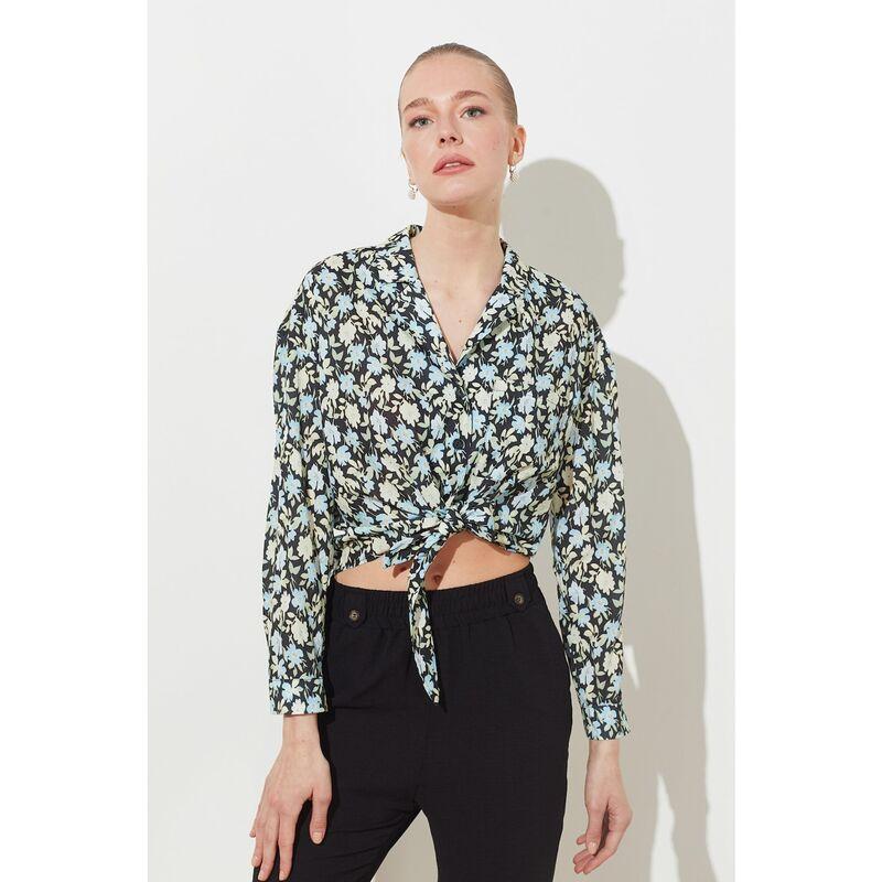Trendyol Black Printed Shirt dámské 40