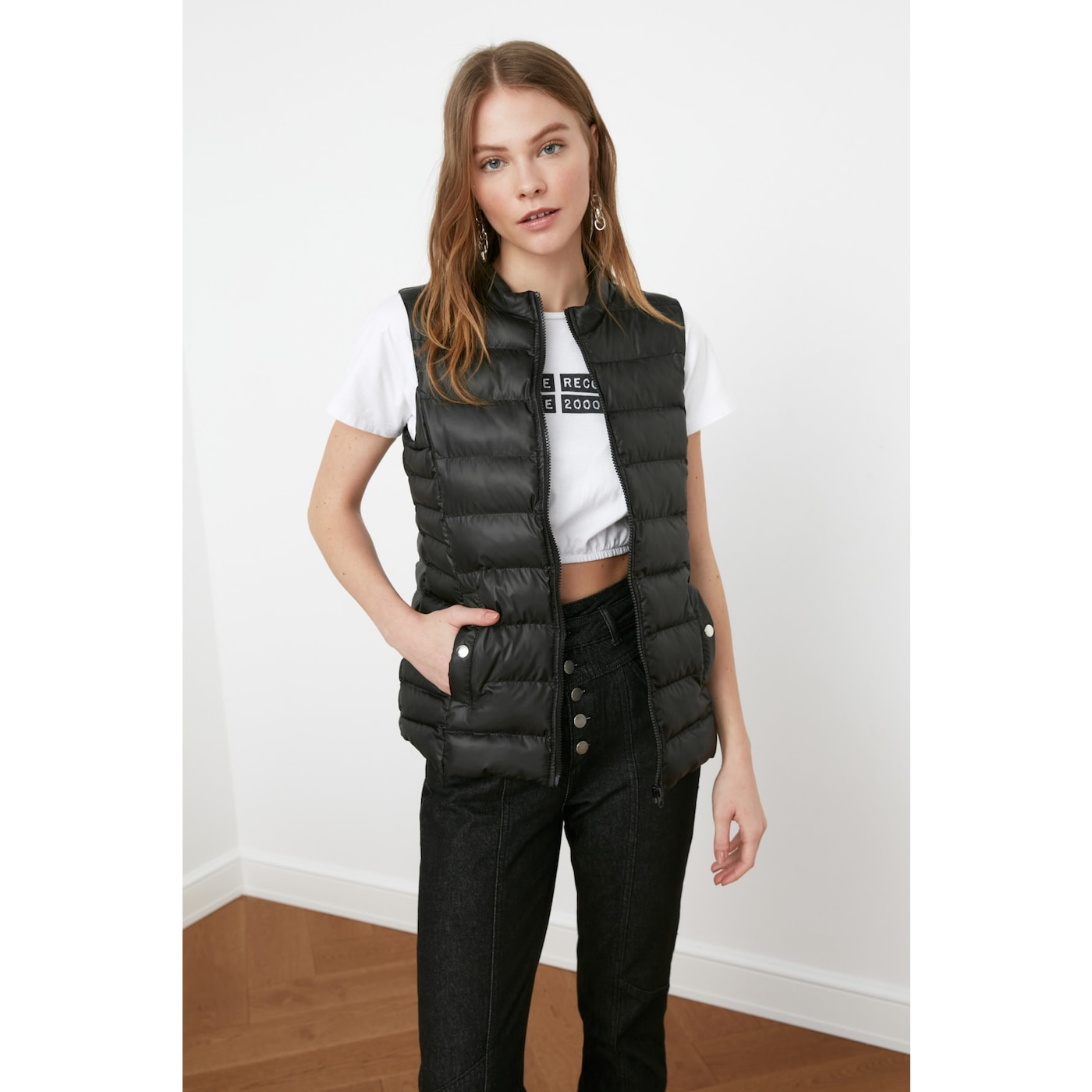 Trendyol Black Right Collar Inflatable Vest dámské S