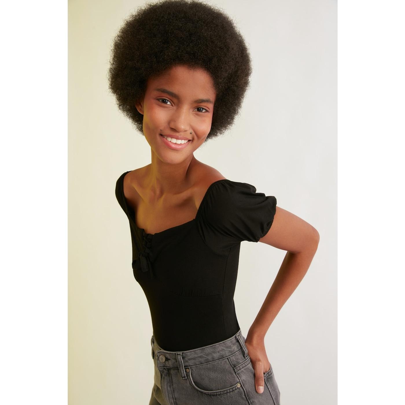 Trendyol Black Ruffled Detail Knitted Blouse dámské L