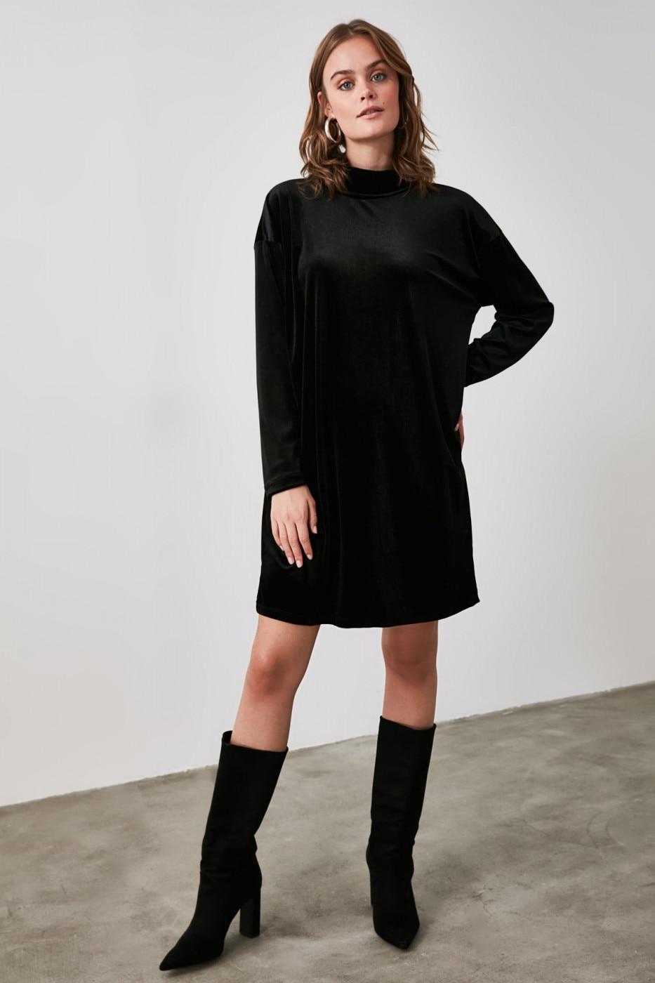 Trendyol Black Velvet Mini Knitted Dress dámské XS