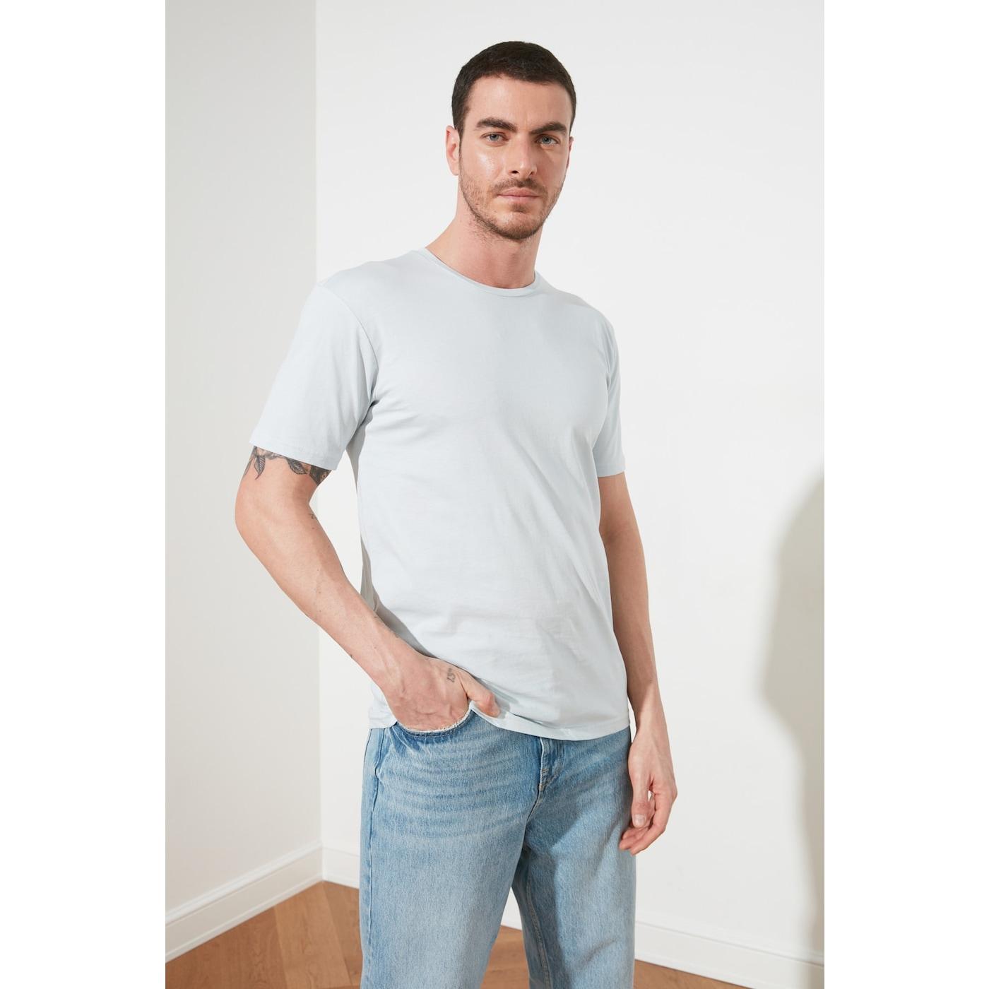 Trendyol Blue Basic Mens Regular Fit Bike Collar Short Sleeve T-Shirt pánské Navy XL