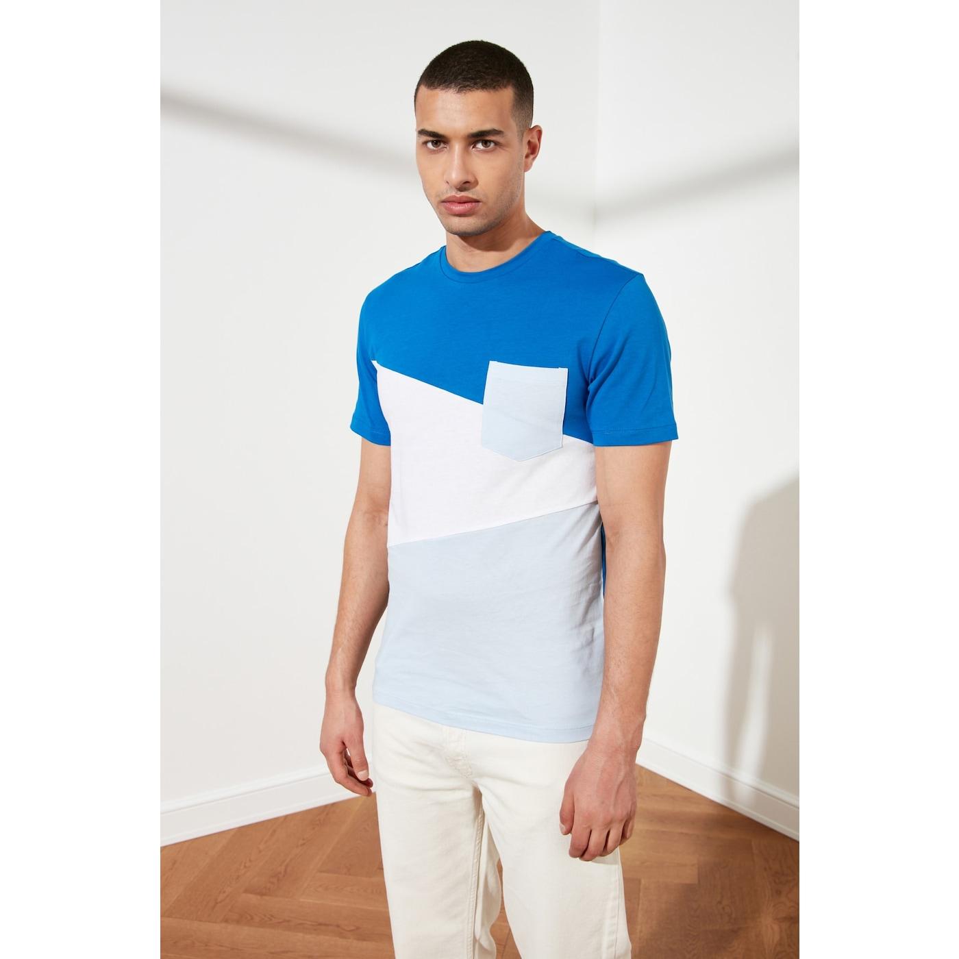 Trendyol Blue Mens Bike Collar T-Shirt pánské Navy M