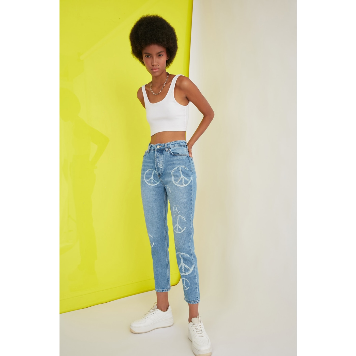 Trendyol Blue Printed High Waist Mom Jeans dámské Navy 36
