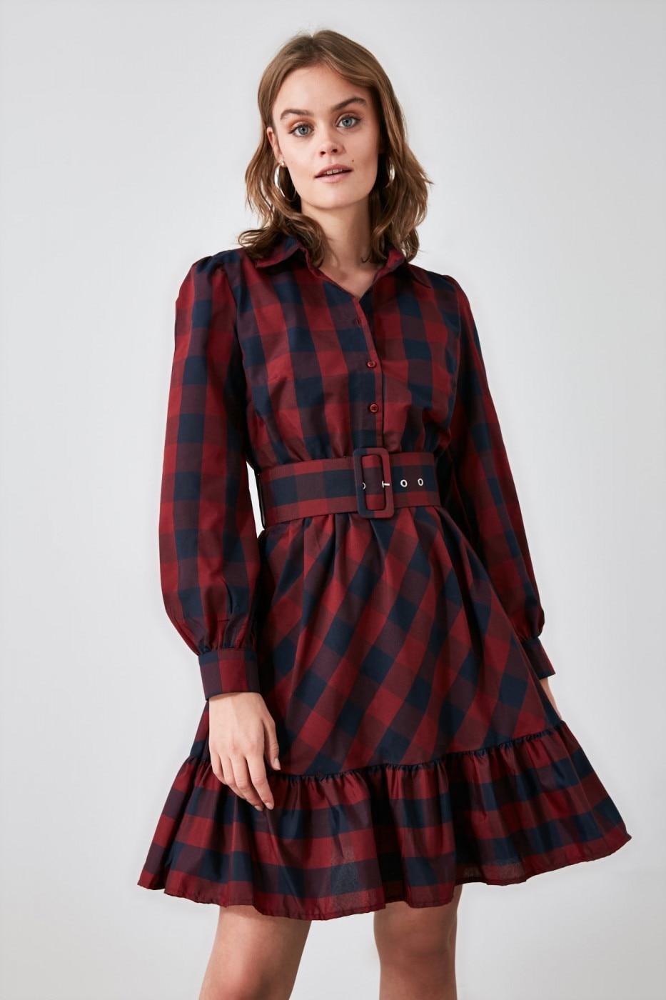 Trendyol Burgundy Belt Plaid Dress dámské 34