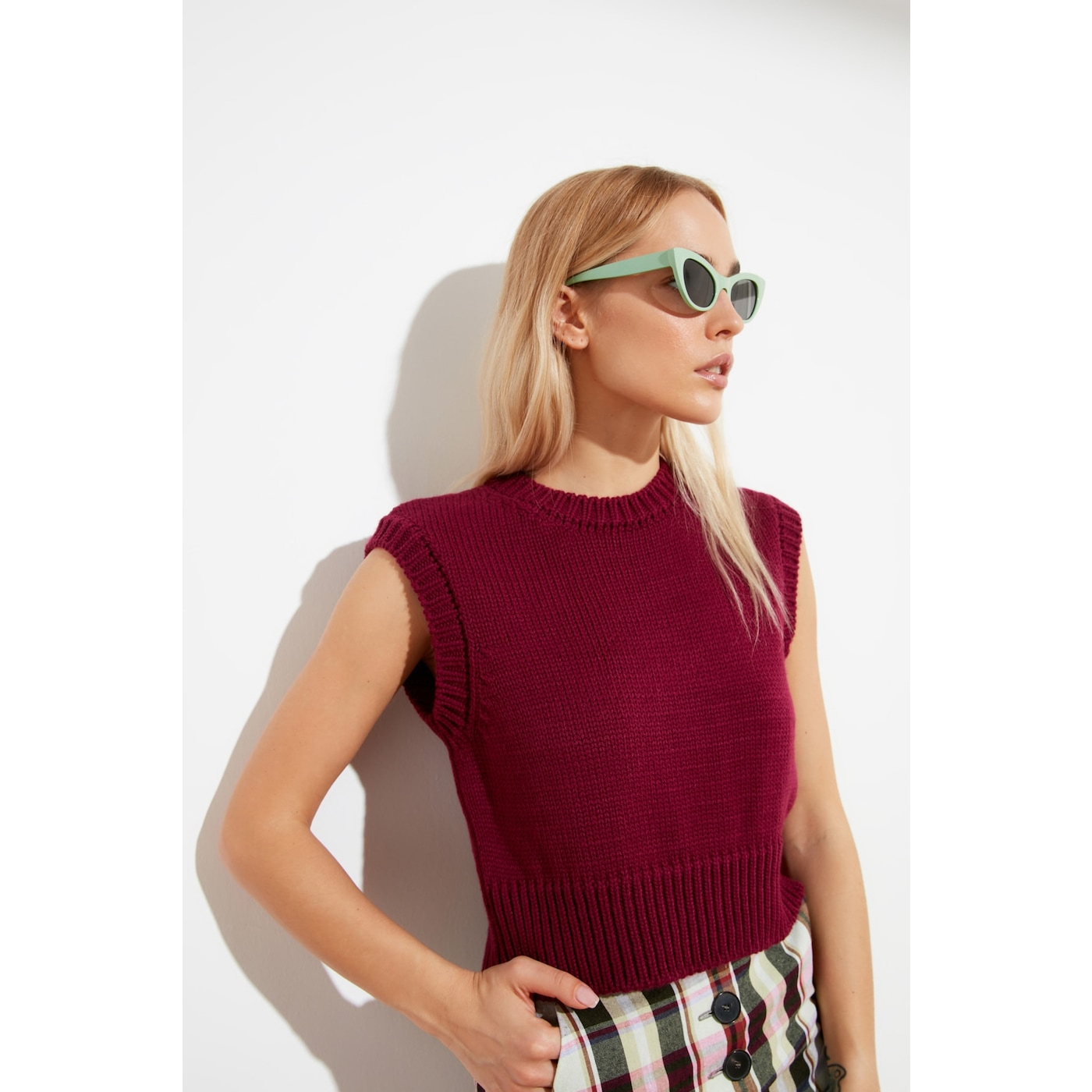 Trendyol Burgundy Bike Collar Knitwear Blouse dámské M