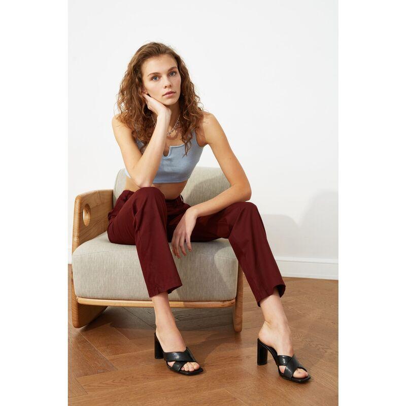 Trendyol Burgundy Wide Leg Pants dámské 34