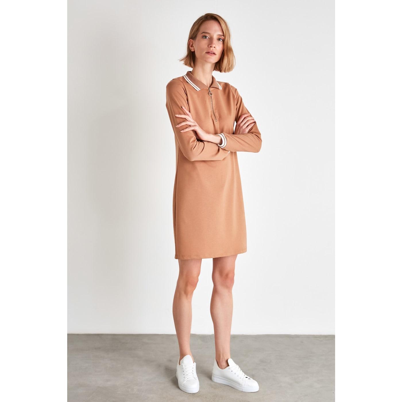 Trendyol Camel Zip Sweat Knitted Dress dámské S