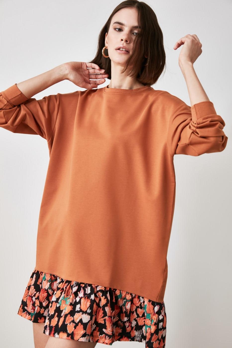 Trendyol Cinnamon Woven Detailed Sweatshirt Knitted Dress dámské XS