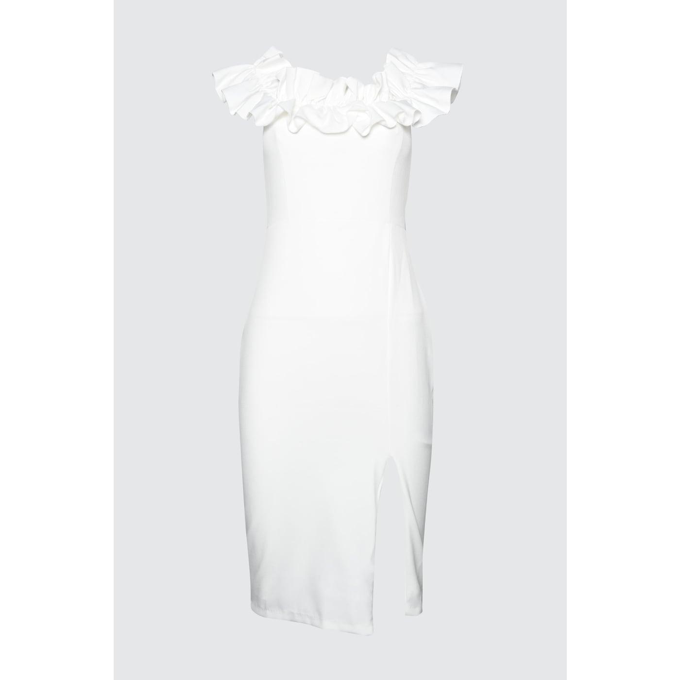 Trendyol Ekru Collar Detailed Dress dámské Ecru 36