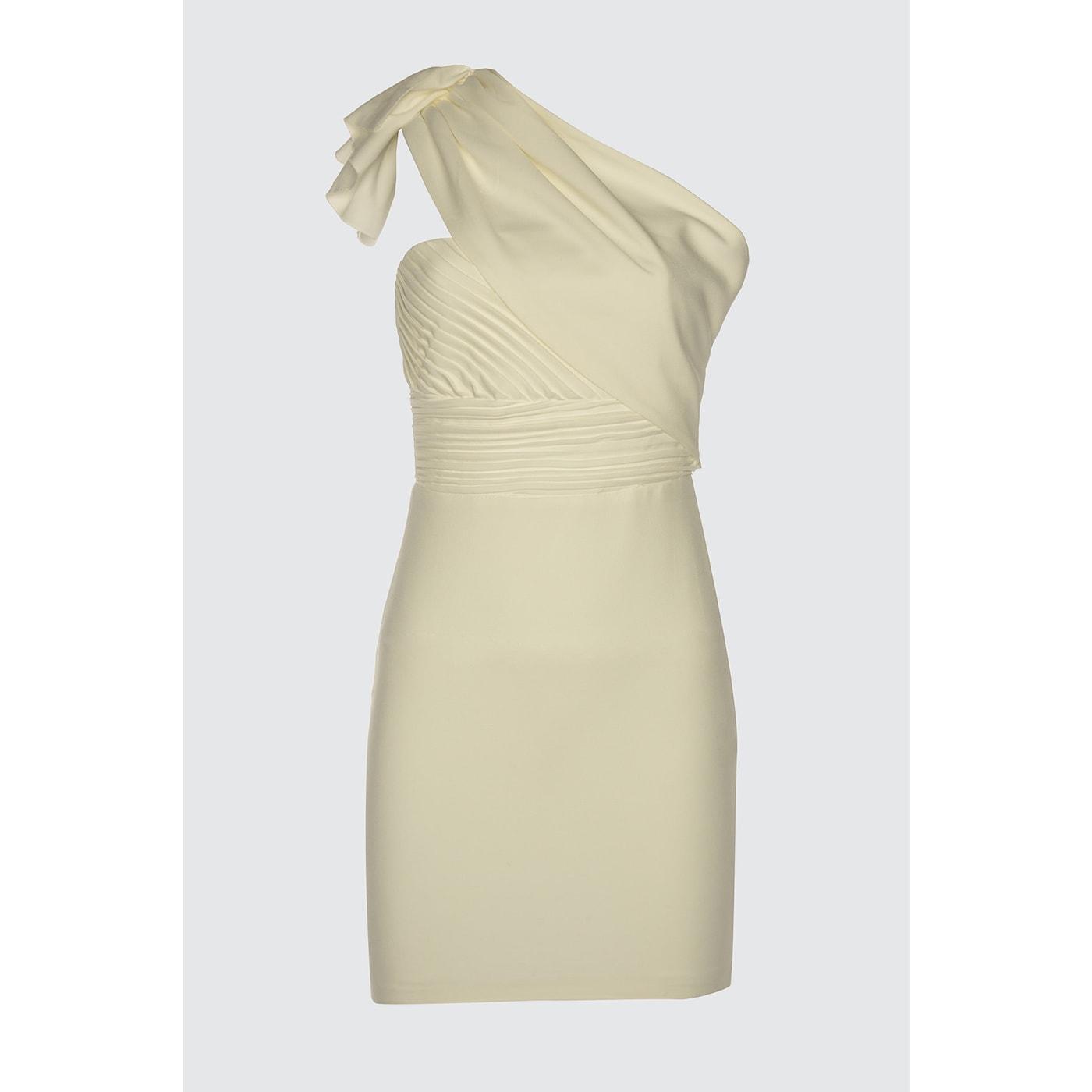 Trendyol Ekru Drapeli Dress dámské Ecru 34