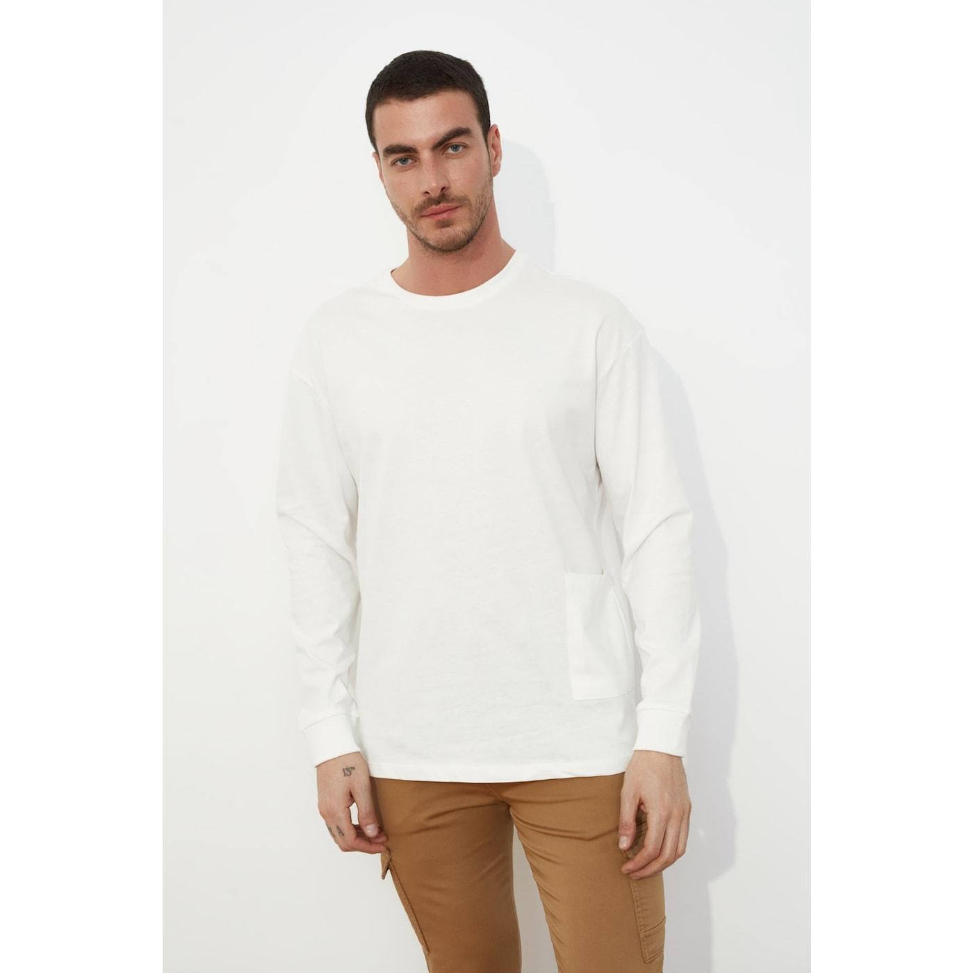Trendyol Ekru Mens Long Sleeve Oversize Pocket Detailed T-Shirt pánské Ecru S