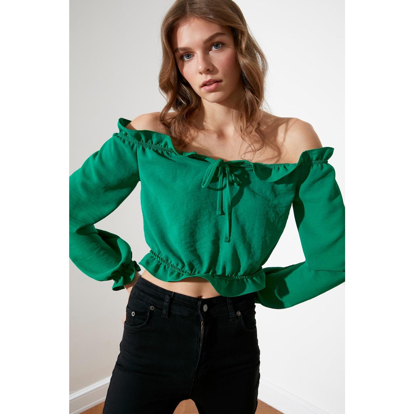 Trendyol Green Binding Detailed Blouse dámské 34