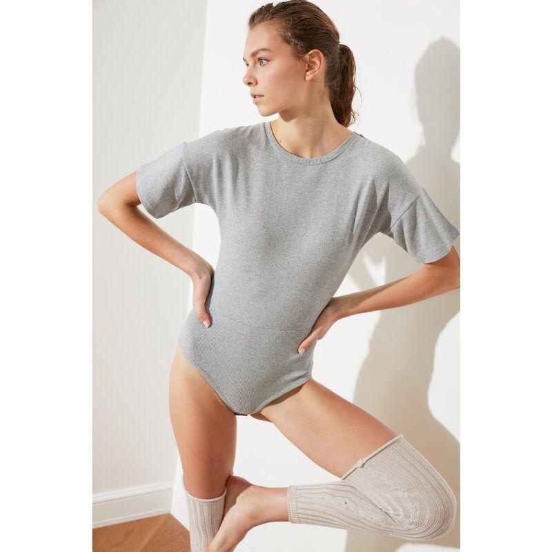 Trendyol Grey Snap Knitted Body dámské S