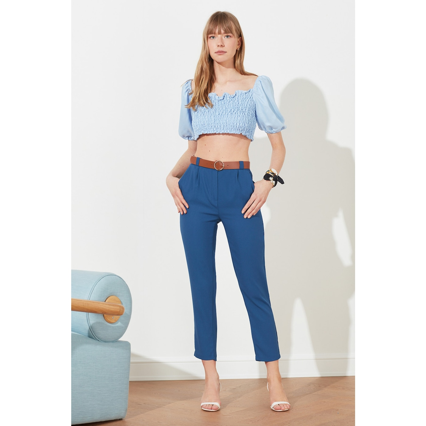 Trendyol Indigo High Waist Pants dámské 38
