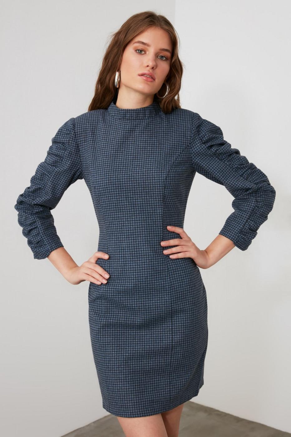 Trendyol Indigo Sleeves Shrapnel Dress dámské 34