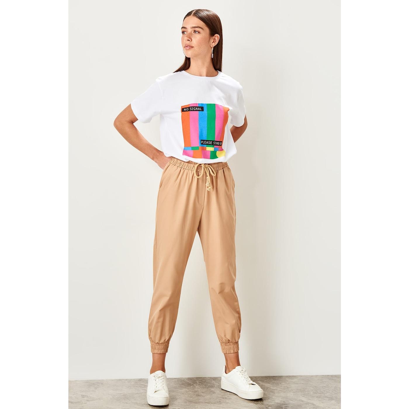 Trendyol Jogger trousers dámské Beige 38