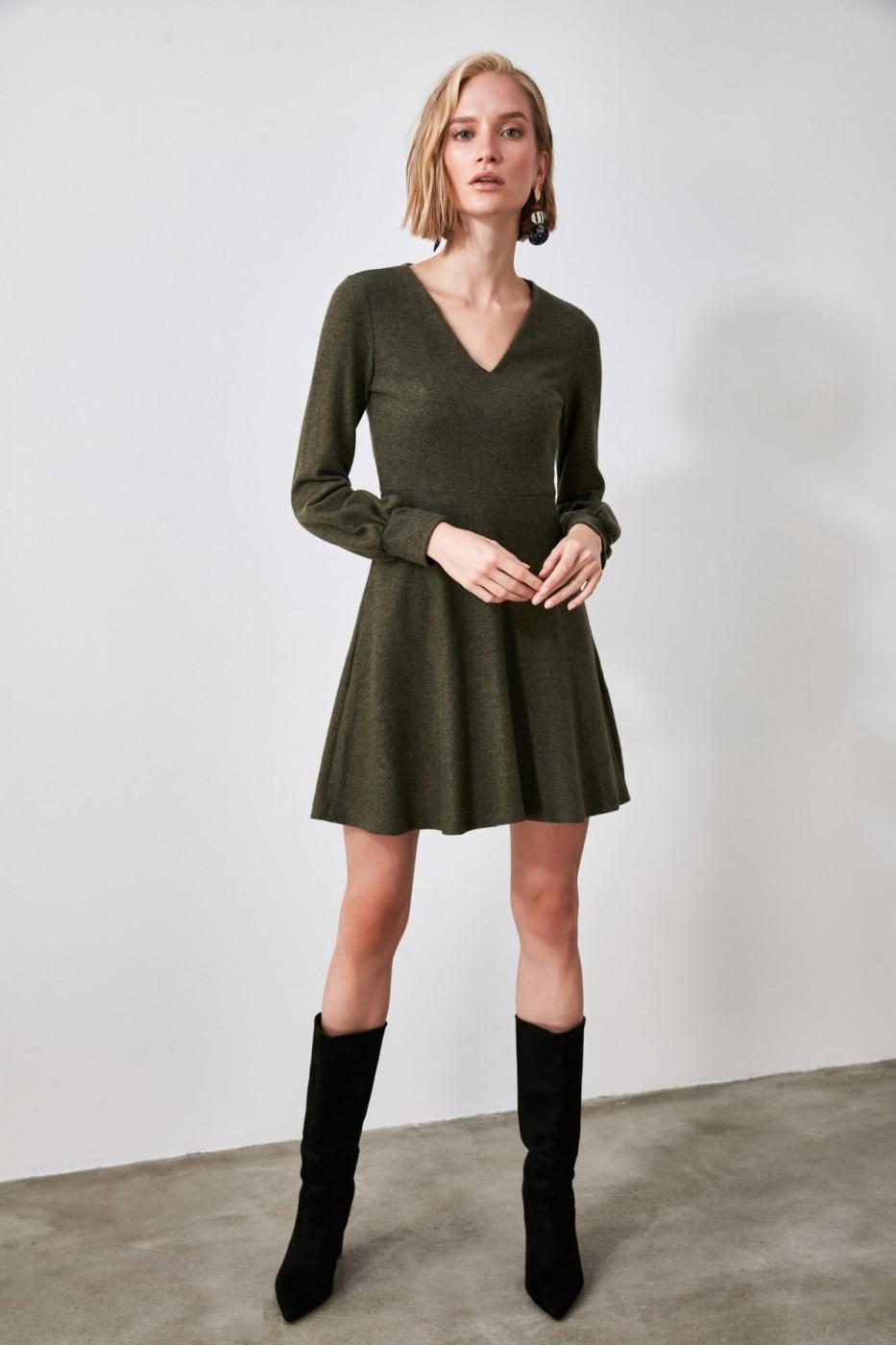 Trendyol Khai V Collar Knitted Dress dámské Khaki XS