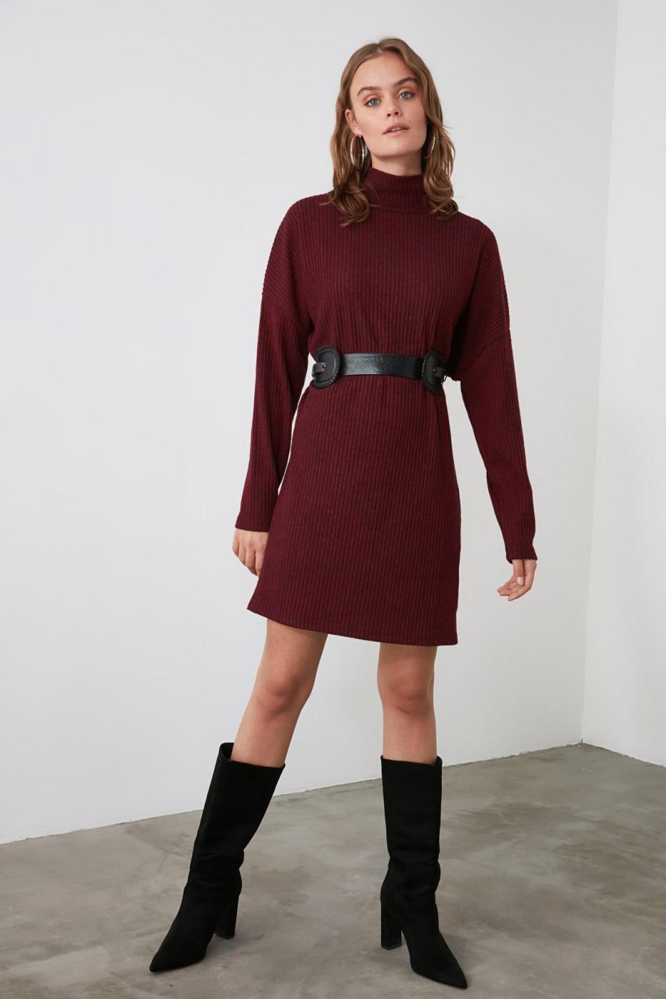 Trendyol Knitted Dress with Burgundy Throat dámské XS
