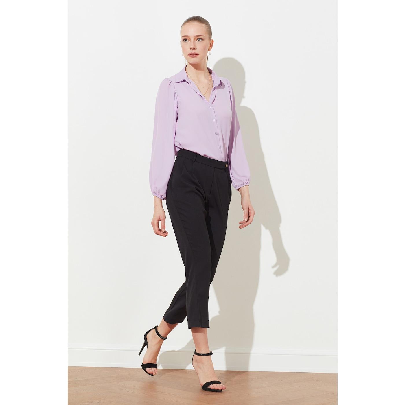 Trendyol Lila Balloon Sleeve Shirt dámské Lilac 34