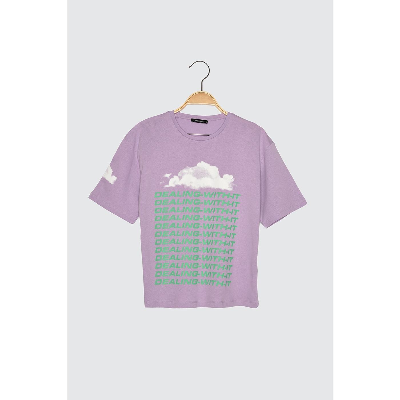 Trendyol Lila Loose Printed Knitted T-Shirt dámské Lilac L