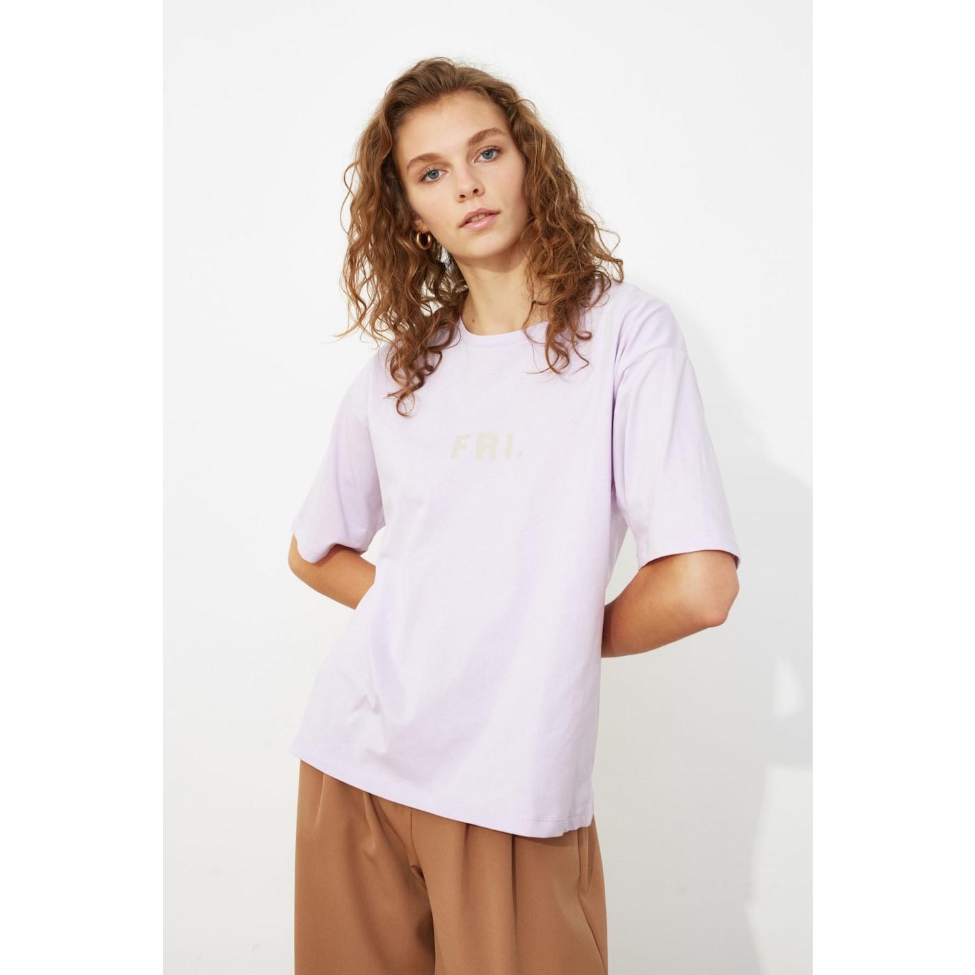 Trendyol Lila Printed Loose Knitted T-Shirt dámské Lilac M