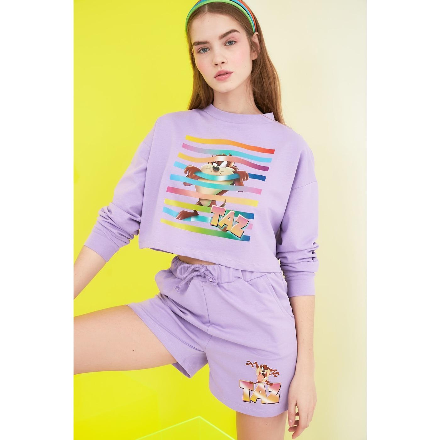 Trendyol Lila Tasmanian Monster Licensed Printed Crop Knitted Sweatshirt dámské Lilac S